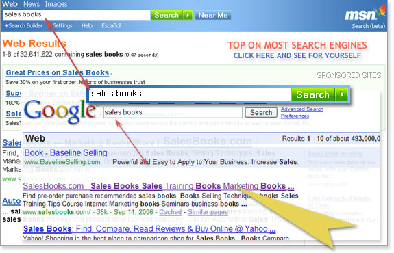 SalesBooks.com TOP RANKING ON MOST SEARCH